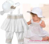 Newborn Bebe Infantil Baby Girls Kids Children Hat+Top+Pants RuffleClothes Clothing Set Suit White Summer Princess Wholesale