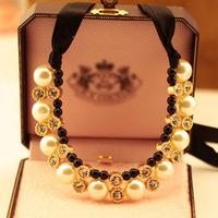 Korean version of the high-end jewelry wholesale pearl rhinestone halter -neck dress short black ribbon necklace