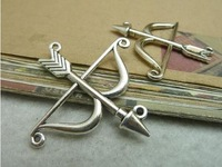 Free Shipping  20pcs  46*47mm Antique silver bow and arrow  Cupid Arrow Charms Metal Jewelry Making Jewelry Findings