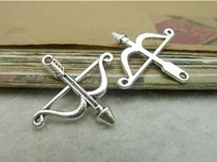 Free Shipping  50pcs  25*26mm Antique silver bow and arrow  Cupid Arrow Charms Metal Jewelry Making Jewelry Findings