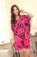 new 2014 summer women batwing sleeve hello kitty pajama sets / fashion sleepwear / sleep & lounge