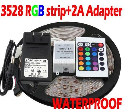 Waterproof 3528 RGB Led Strip Flexible Light 60led/m 5M 300 LED SMD DC 12V+ IR Remote Control + 2A Power Supply free shipping(China (Mainland))