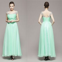 2014 Newest Designer Graceful Sweet Fresh Spring/Summer Women Fashionable Mint Green Sleeveless Hand-Tailored Evening Dresses