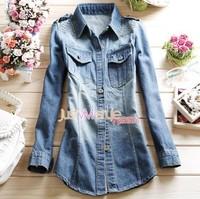 2014 European style jean women denim blouse jean shirt slim shirt Dark Blue collar long-sleeve denim shirt female cowboy shirt