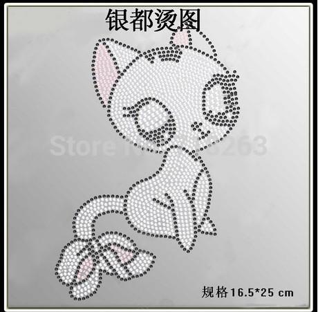 YDFree shipping new style high quality rhinestone motifi Heat Transfer Design Iron On Motifs in cat image(China (Mainland))