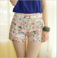 Free Shipping 2014 New Fashion Women's Summer Flower Print Shorts Skirts With White Belt 6 Colors Free Size(shorts05)