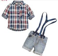 Retail 2014 summer children clothing sets boys plaid shirt+cotton overalls handsome 2pcs boy sets branded kids wears