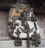 8 PCS different styles antique bronze Caravaca Saint Francis Assisi San Damiano Tau Baroque Crucifix Crosses Rosary Supplies