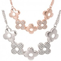 Accessories crystal four-leaf flower necklace h007 accessories boutique