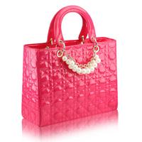 2014 big style fashion pearl handbag patent leather women bag 270