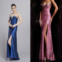 2014 Summer New Arrival Fashion Women Cloth 7 Color Nylon Fiber Hand Made Beads Strapless High Slit Women Evening Dresses