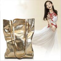 Fire cracks women's genuine leather handbag 2014 soft bling double layer one shoulder metal color women's handbag messenger bag