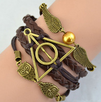Shopping Festival Products Mix Infinity Harry potter Leather Love Owl Charm Handmade Bracelets & Friendship Bangles Jewelry