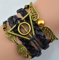 New Design owl pearl wing Infinity harry potter Charm Leather Multilayer Bracelet jewelry