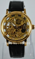 2013 HOT Silver See Through Skeleton Dial Men Women Mechanical Wrist Watch -Lucky family  2corol