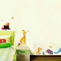 2014 New arrival animal world elephant giraffe zebra cartoon wall stickers for baby children room