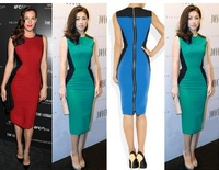 Free shipping Newest Top Fashion Women O-neck split joint Optical slimming Stretch Business Party Knee-Length Pencil Dress