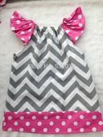 2014 new baby girls chevron dress polka dot dress pillow case dress