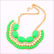 9 Colors New 2014 Fine Cute Jewlery Korean Candy Color Fluorescent Collar Charm Necklace Drill Jewelery