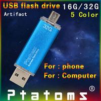 Smart phone USB Flash drive 16G 32G OTG USB Flash Drive Computer Micro USB Flash Drive U Disk for Android Phone Free shipping