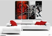hand-painted oil painting, Cheap 4 Piece Group Red And Black Wall Art Modern Abstract Home Decor Artwork Oil Painting On Canvas