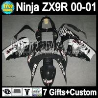 7gifts+Body For KAWASAKI NINJA Black white West ZX9R 00-01 ZX-9R M175 ZX 9R 9 R ZX9 R 00 01 Black white 2000 2001 Fairing
