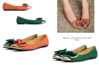 aliexpress free shipping 2014 lady's women's spring summer autumn fashion pure color metal point  flat shoes