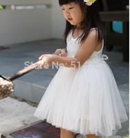 Summer  girls princess dress Summer flowers dress white princess dress manufacturer provides straightly
