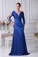 2014 New Design V-Neck Beading Sheath/Column 3/4-Length Mother of the Bride Dress