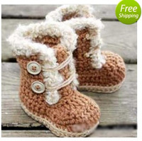 HOT sale! - Baby crochet shoes snow booties ankle buckle strap wooden button 0-12M size 9pairs/lot custom free shipping