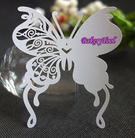 Sample order 50pcs/lot paper white butterfly Wine Glass Cup Card escort cards place cards wedding favors and gifts FREE SHIPPING