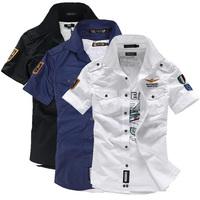 2014 NEW short sleeve shirts Fashion airforce uniform military short sleeve shirts men's dress shirt free shipping