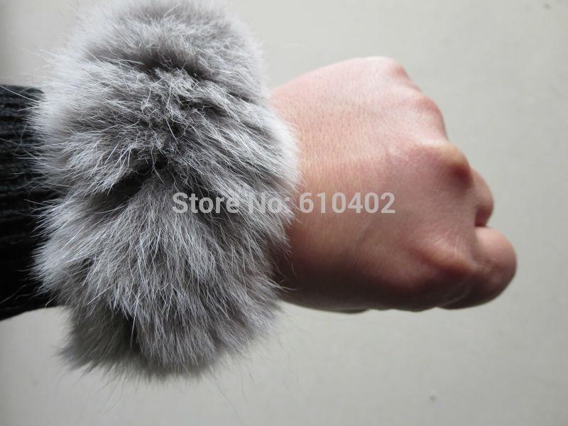 Free Shipping/ Real Rabbit Fur ponytail holder hair band scrunchie natural gray(China (Mainland))