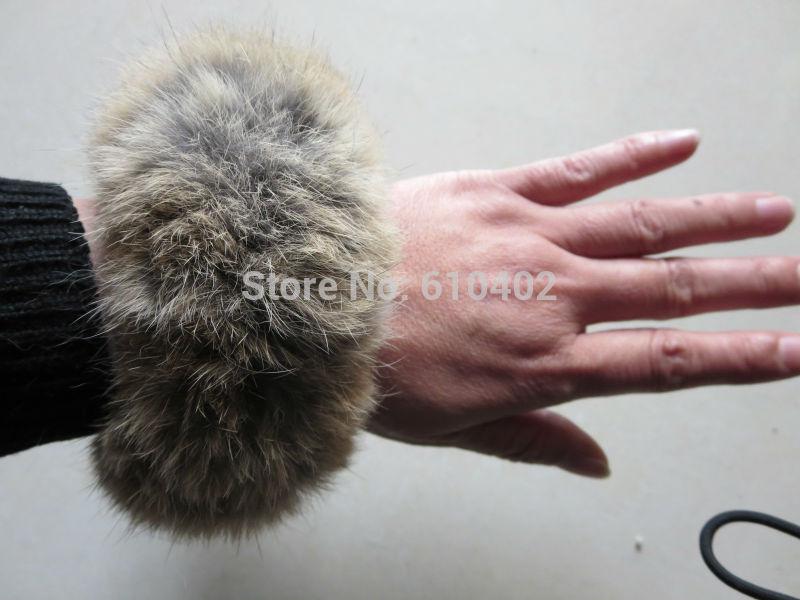 Free Shipping/ Real Rabbit Fur ponytail holder hair band scrunchie natural brown(China (Mainland))