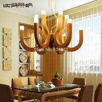 Modern brief manchurian ash wool bar pendant light creative wood lamp high-end antique lamp free shipping
