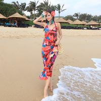 2014 summer new fashion women cross V-neck halter bohemian print dress Slim sexy vacation
