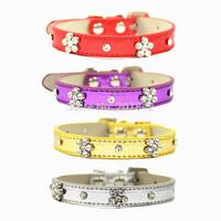 Wholesale Rhinestone Dog Collar Personalized Crystal Studded Metallic Leather Pet Dog Products