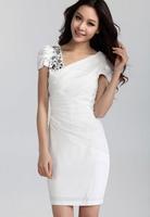 Free Shipping New Fashion Women's Dresses Princess Sweet Lace Dress Diamante Short Sleeves Chiffon Slim Seabeach OL Clothing