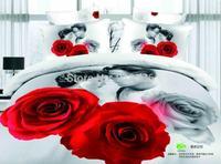 New Beautiful 100% Cotton 4pc Doona Duvet QUILT Cover Set bedding sets Full Queen King 4pcs flower white red rose & lover