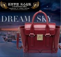 2014 Hot Dumplings Type PU Leather Shoulder Bag Fashion Leisure Women's Handbag Burgundy/Yellow Free Shipping
