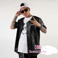 Faux PU Leather baseball clothing for men / Summer fashion short-sleeve cool design streetwear / Hip Hop Black Men casual shirts