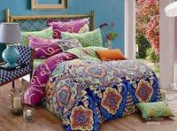 New Beautiful 100% Cotton 4pc Doona Duvet QUILT Cover Set bedding sets Full Queen King 4pcs flower colorful blue