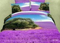 New Beautiful 100% Cotton 4pc Doona Duvet QUILT Cover Set bedding sets Full Queen King 4pcs flower Scenery Lavender  tree purple