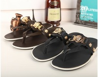 2014 Newest Brand Designer Genuine Leather Men Summer Flip Flops shoes,fashion Dichotomanthes bottom Non slip slipper