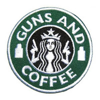 GUN AND COFFEE Badge Embroidered Iron on Patch, Coffee Logo Jacket Patch,Kids DIY Cloth Accessories