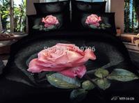 New Beautiful 100% Cotton 4pc Doona Duvet QUILT Cover Set bedding sets Full Queen King 4pcs flower balck pink rose