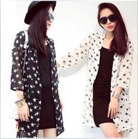 Fashion Thin Cardigan Blouses For Women 2015 Summer New stars Printed Loose Long Chiffon Shirts Sun protection clothing Tops