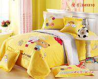 New Beautiful 100% Cotton 4pc Doona Duvet QUILT Cover Set bedding sets Full Queen King 4pcs cartoon colorful yellow bear op-98