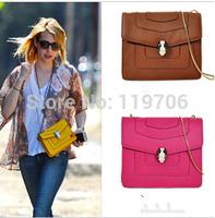 2014 New Brand Designer Handbags Women Quality PU Leather Serpenti Buckle Chain Messenger Bags Celebrity Vintage Shoulder Bags