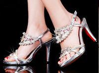 2014 New Hot Sales Women's Fashion Genuine Leather High Heels Sandal Lady Sexy Rhinestone Decor Summer Heeled Shoes